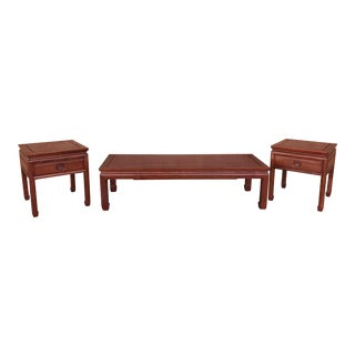 Rosewood Chinese Coffee & Side Tables - Set of 3