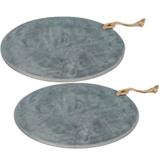 Sarreid Ltd. Marly Marble Plates - A Pair