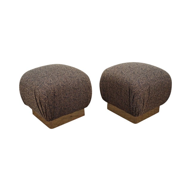 Karl Springer-Style Soufflé Ottomans - A Pair - Image 1 of 10