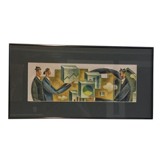 Men and the Stock Market Contemporary Print