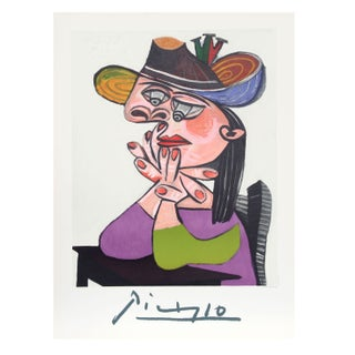 Pablo Picasso - Femme Accoudee en Robe Mauve Et An