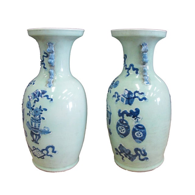 Chinese Porcelain Blue Graphic Vases - A Pair - Image 2 of 5