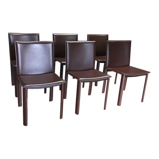 Crate & Barrel Brown Leather Chairs - Set of 6