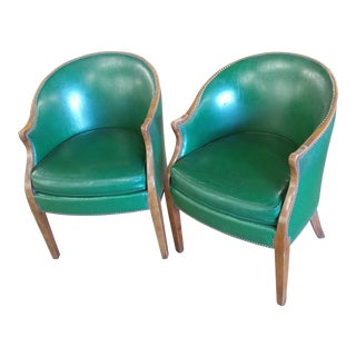 Vintage Baker Furniture Green Leather Library Chairs - A Pair