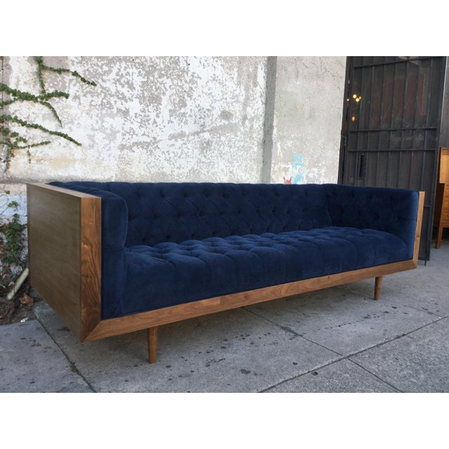 Blue Tufted Walnut Framed Sofa - Image 3 of 5