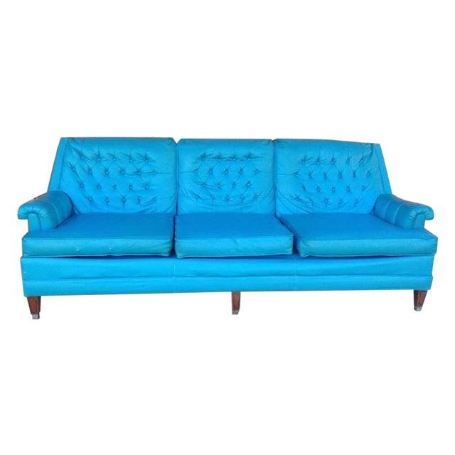 Mid-Century Modern Turquoise Sofa - Image 1 of 11