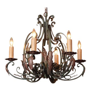 Early 20th Century French Six-Light Iron Chandelier With Verdigris Finish