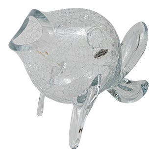 Vintage Blenko Clear Crackle Glass Fish