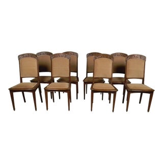 French Art Nouveau Dining Chairs - Set of 8