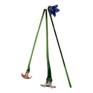 Murano Style Glass Long Stem Flowers - Set of 3