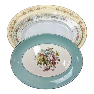 Mismatched Floral Porcelain Platters - Set of 3