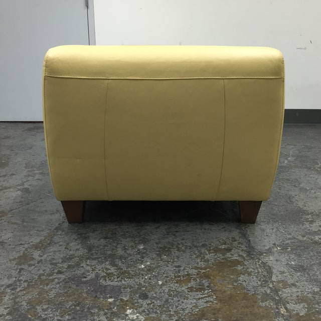 Contemporary Yellow Leather Chaise with Pillows - Image 8 of 11