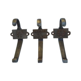 Cast Iron Crown Motif & Made in England Hooks- S/3