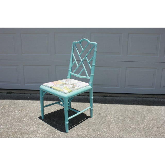 Vintage Faux Bamboo Chinese Chippendale Chair - Image 2 of 7