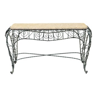 Exceptional Hand Forged Iron Console With Faux Stone top