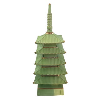 Vintage Ceramic Green Pagoda Decanter