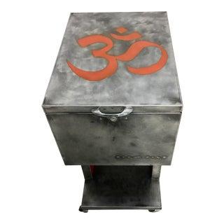 Industrial Om Aum Symbol End Table/ File Cabinet