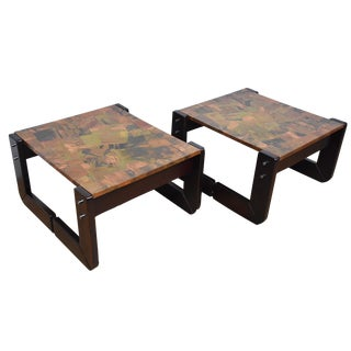 Lafer Rosewood and Copper End Tables - Pair