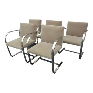 Mies Van Der Rohe Knoll International Flat Bar Brno Chrome Chairs - Set of 5