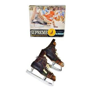 Vintage 1960's Bauer Hockey skates box and skates.