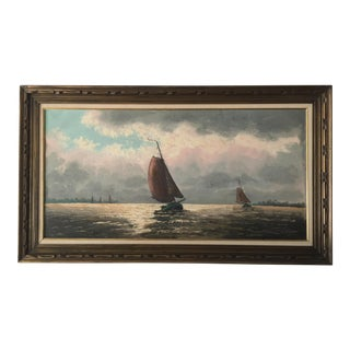 Vintage Sailboats on the Water Oil Painting