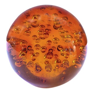 Overscale Amber Murano Blown Art Glass Sphere With Interior Bubbles