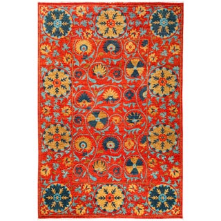 """Suzani Hand Knotted Area Rug - 5'2"""" X 7'7"""""""