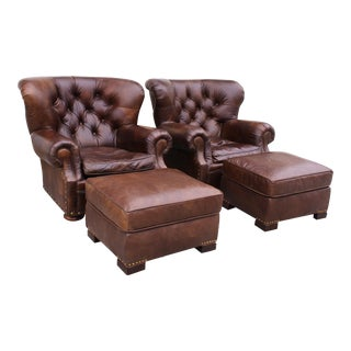 Restoration Hardware Club Chairs & Ottomans - A Pair
