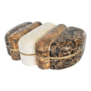 Maitland-Smith Tessellated Marble & Brass Art Deco Style Jewelry Box