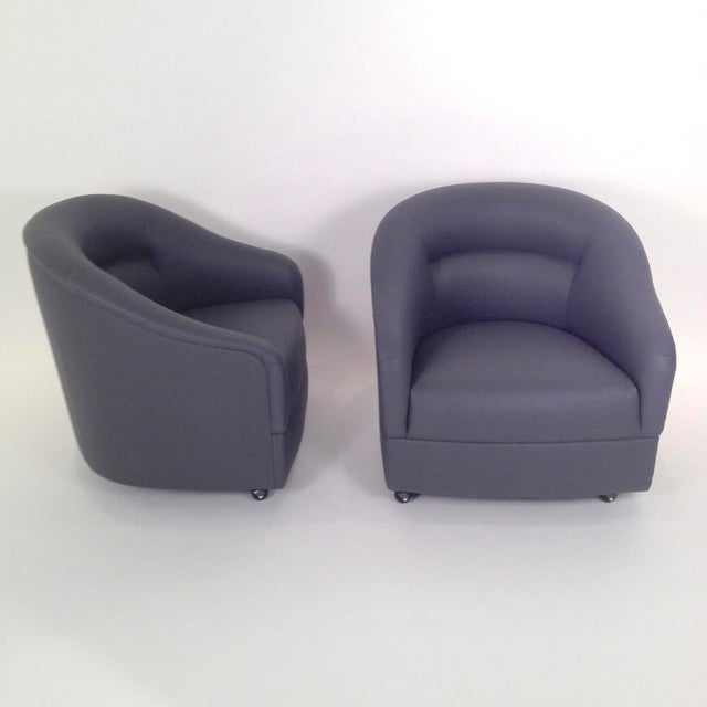 Image of Pair of Ward Bennett Barrel Back Club Chairs