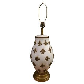 White and Gold Fleur De Lis Lamp