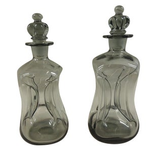 Pinched Holmegaard Deco Decanters - A Pair