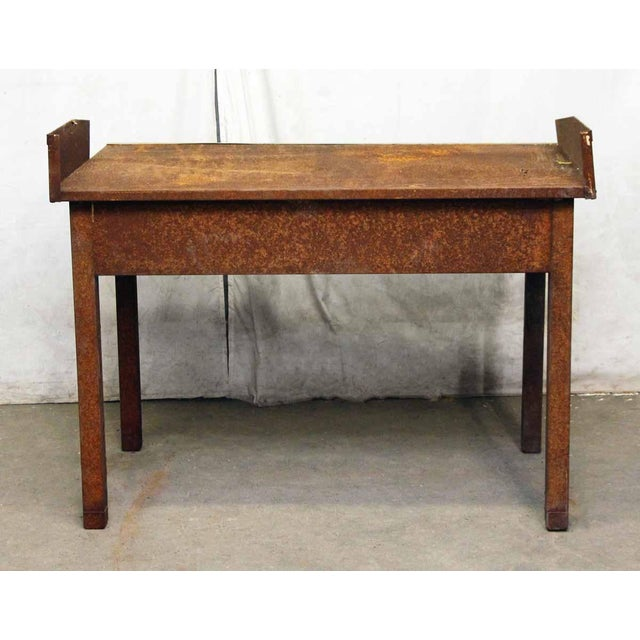Rusted Metal Industrial Desk - Image 9 of 9