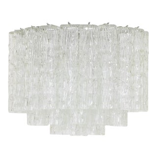 Custom Designed Flush Mount Murano Tronchi Glass Chandelier