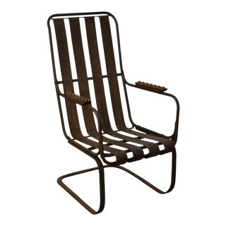 Vintage Wrought Iron Spring Arm Chair
