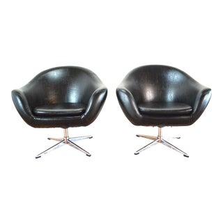 Overman Pod Swivel Mid-Century Chairs - Pair