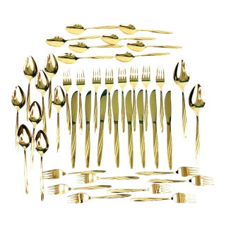 Mid Century International American Flair Gold Tone Flatware-42 Piece Set
