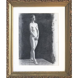 Large Charcoal Drawing of a Female Nude in 19th C Frame