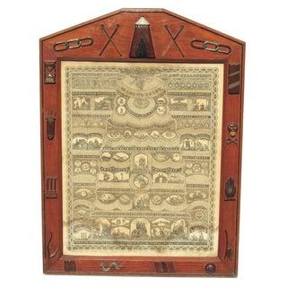1874 Hand Carved Symbols American Folk Art Frame