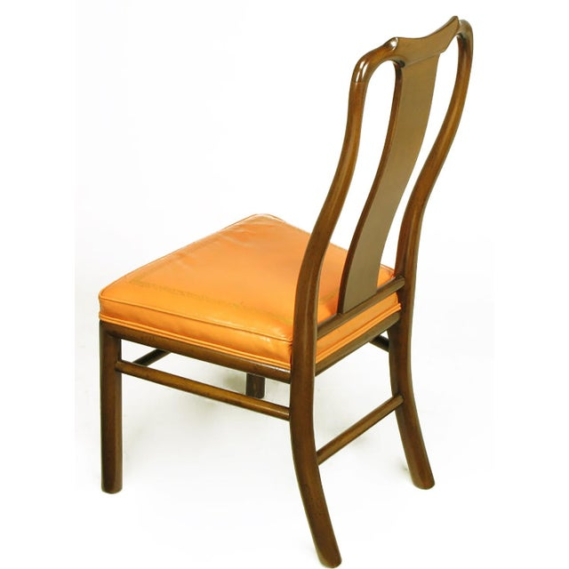 Six Walnut and Tooled Leather Splat-Back Dining Chairs - Image 5 of 10