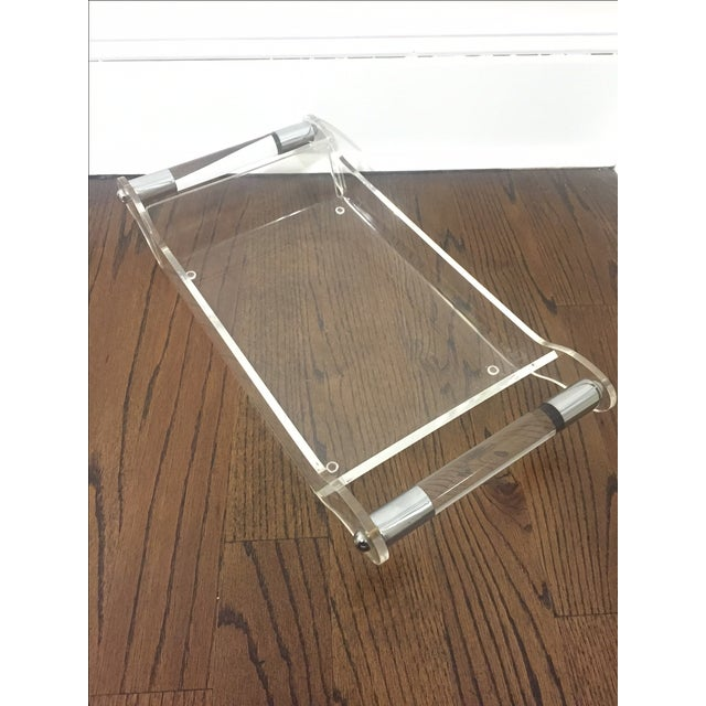 Image of Mid-Century Lucite & Chrome Tray