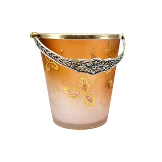 Daum Nancy Acid Etched Art Glass Gilt Silver Handle Strawberry Ice Bucket, Circa 1900