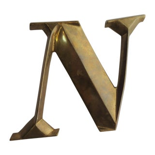 Italian Brass Letter N