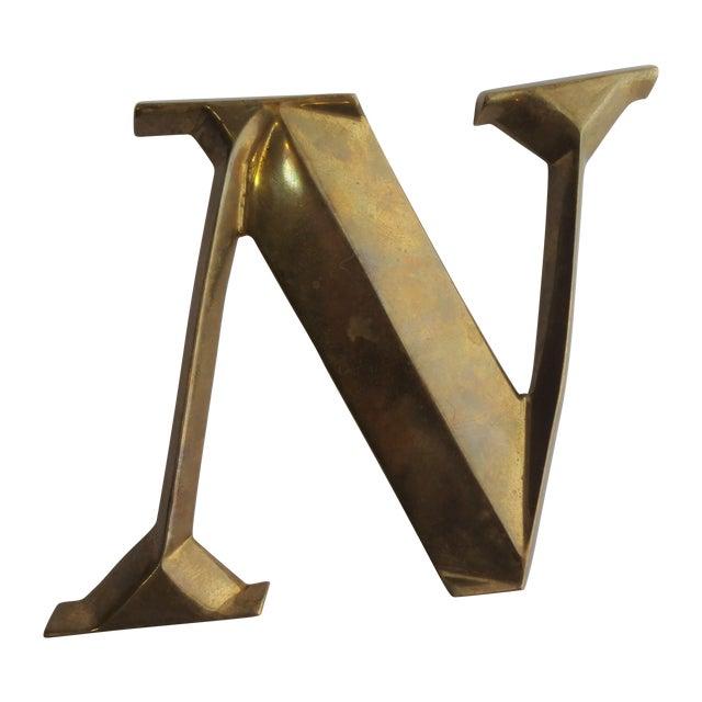 Image of Italian Brass Letter N