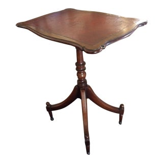 Antique English Leather Tilt Top Side Table