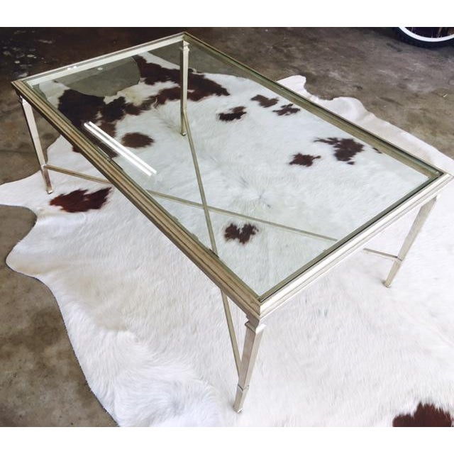 Ethan Allen Coffee Table Glass Top: Ethan Allen Heron Glass & Steel Coffee Table