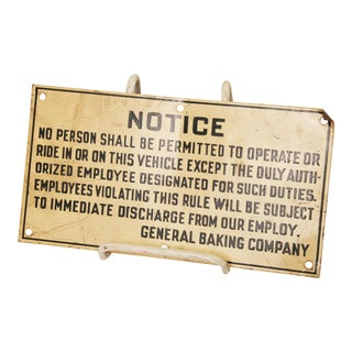 Vintage Industrial Machinery Warning Sign