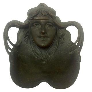 Art Nouveau Ink Well & Original Glass Ink Cup