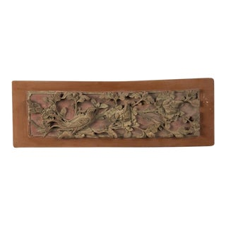 A carved, painted and gilded rectangular plaque from Kuang Hsu period China c.1875.