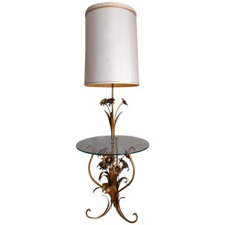 Italian Toleware Gilded Flower Floor Lamp Table
